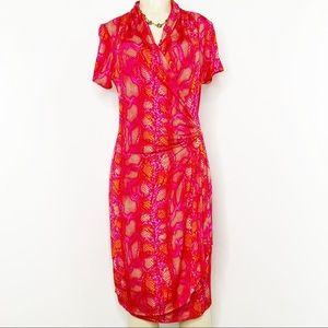 KAREN KANE NWT Hot Pink Faux Wrap Dress Size L